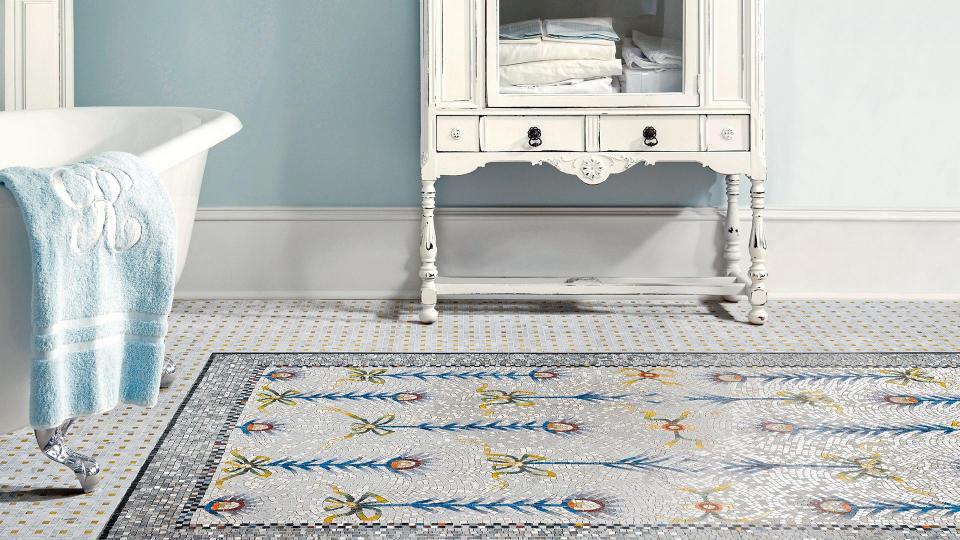 Mosaico in resina digitale o vetroso materie milano - Mosaico pavimento bagno ...